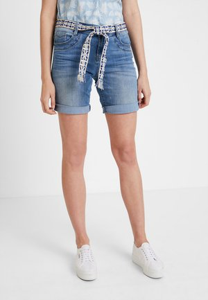 TAPERED BERMUDA - Denim shorts - light stone blue denim