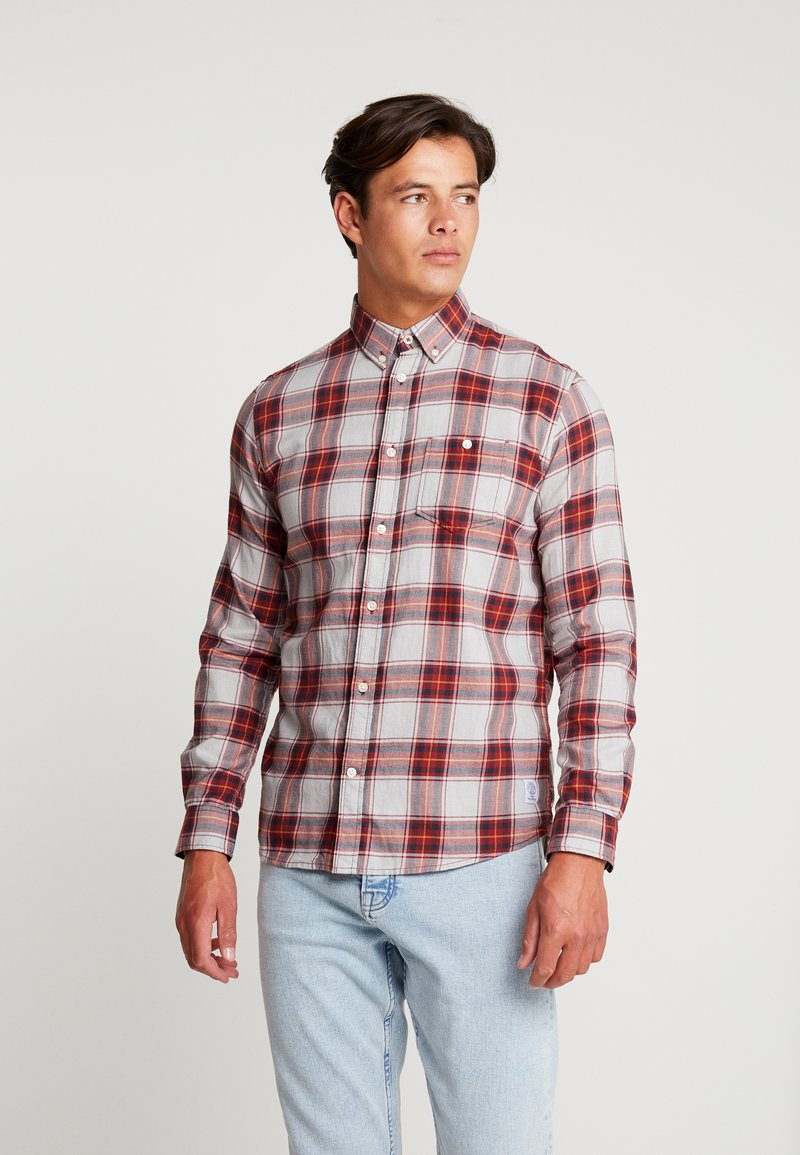 TOM TAILOR - RAY BARBER  - Hemd - burgundy navy fil a fil check red