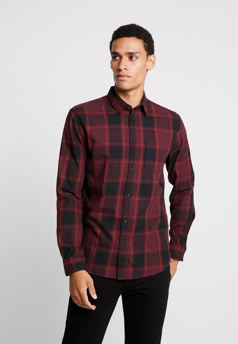 TOM TAILOR - RAY CHECK - Shirt - burgundy /black