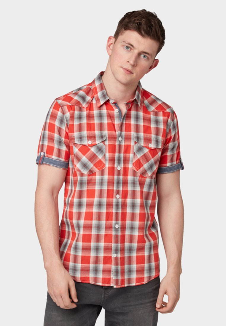 TOM TAILOR - Shirt - red/grey shadow check