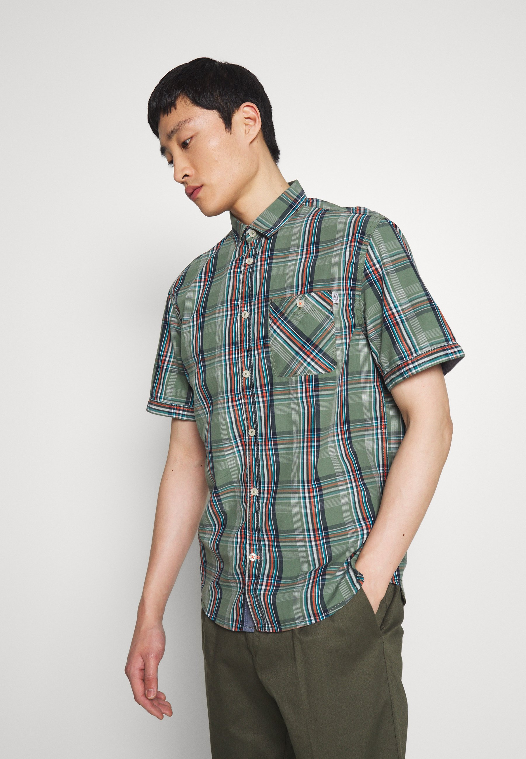 TOM TAILOR RAY COLOURFUL CHECK PACKAGE - Koszula - olive base blue