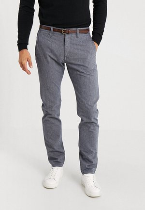 STRUCTURE - Trousers - yarn dye navy blue