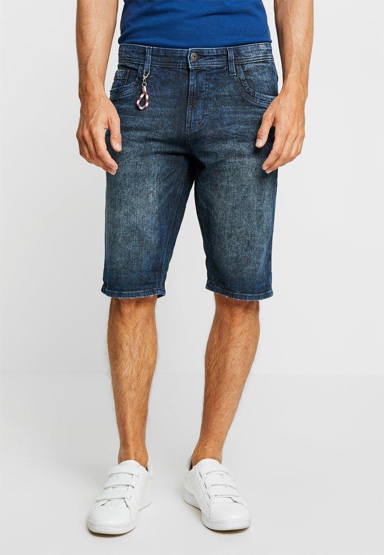 TOM TAILOR - Denim shorts - dark stone wash denim blue