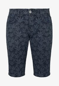 TOM TAILOR - MIT TROPISCHEM PRINT - Shorts di jeans - navy white agave design - 6