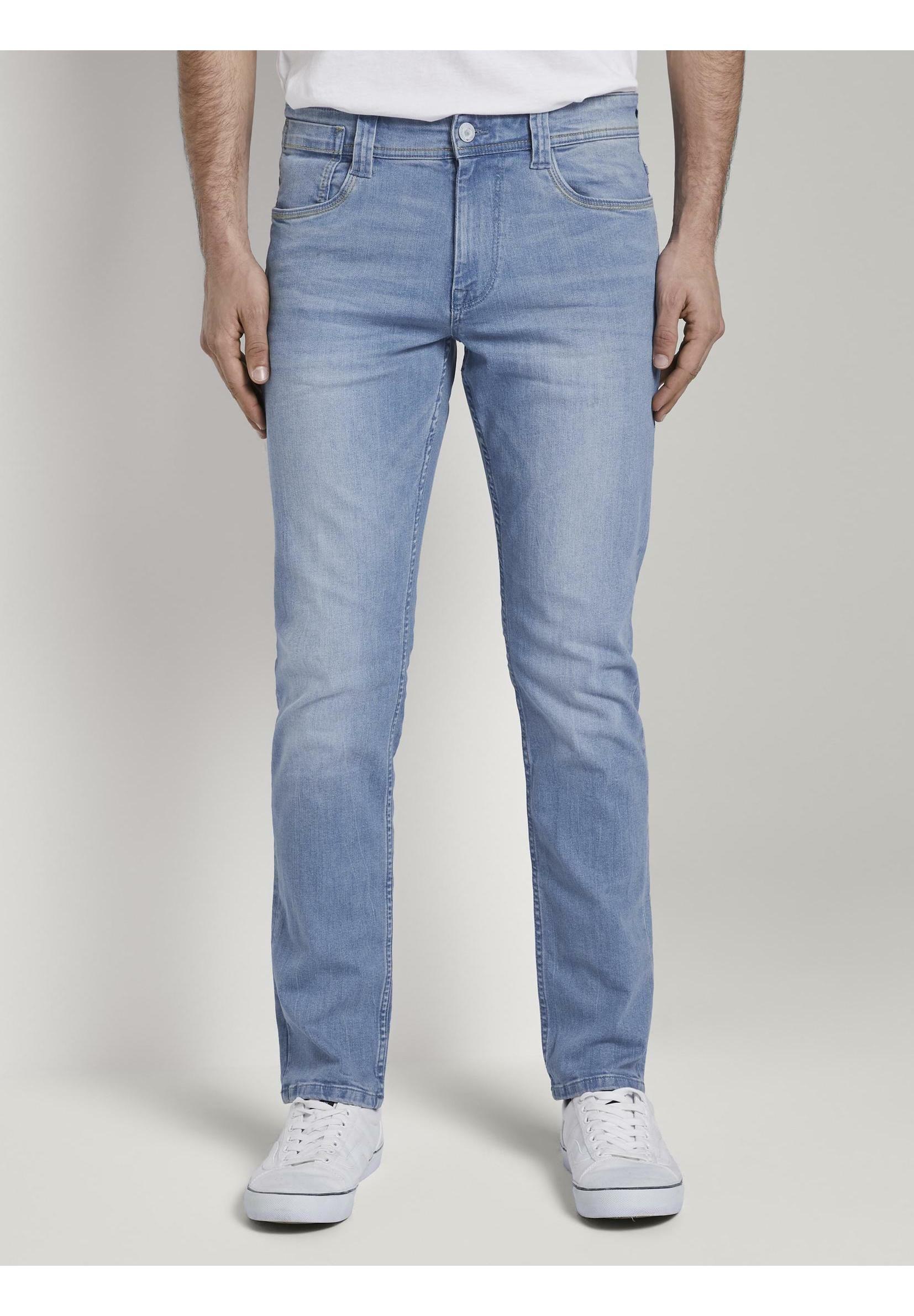 TOM TAILOR JEANSHOSEN JOSH REGULAR SLIM JEANS MIT VERSETZTER MÜN Slim fit jeans bright blue denim