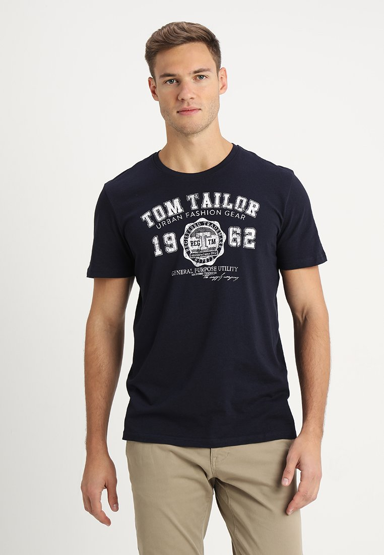 TOM TAILOR - LOGO TEE - T-shirt con stampa - navy blue