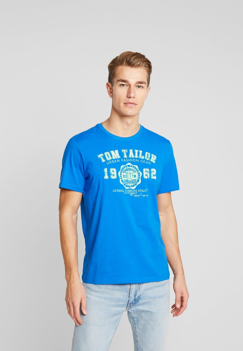 TOM TAILOR - LOGO TEE - T-shirt con stampa - victory blue/blue