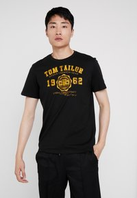 TOM TAILOR - LOGO TEE - T-shirts med print - dark greyish black - 0