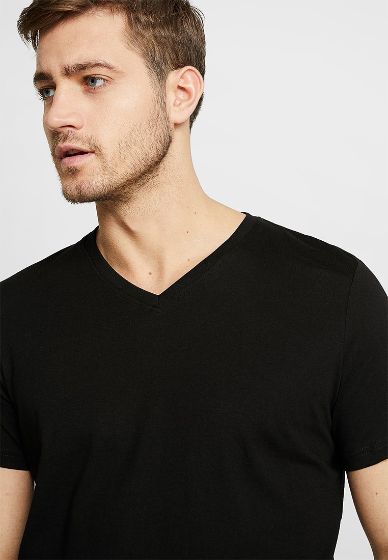 TOM TAILOR - V-NECK TEE 2 PACK - Camiseta básica - black