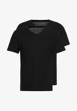 V-NECK TEE 2 PACK - Basic T-shirt - black