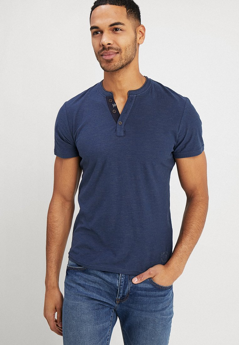 TOM TAILOR - BASIC HENLEY - T-shirt - bas - dark blue