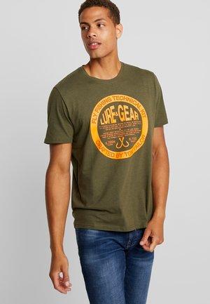 Print T-shirt - dusty green dark melange