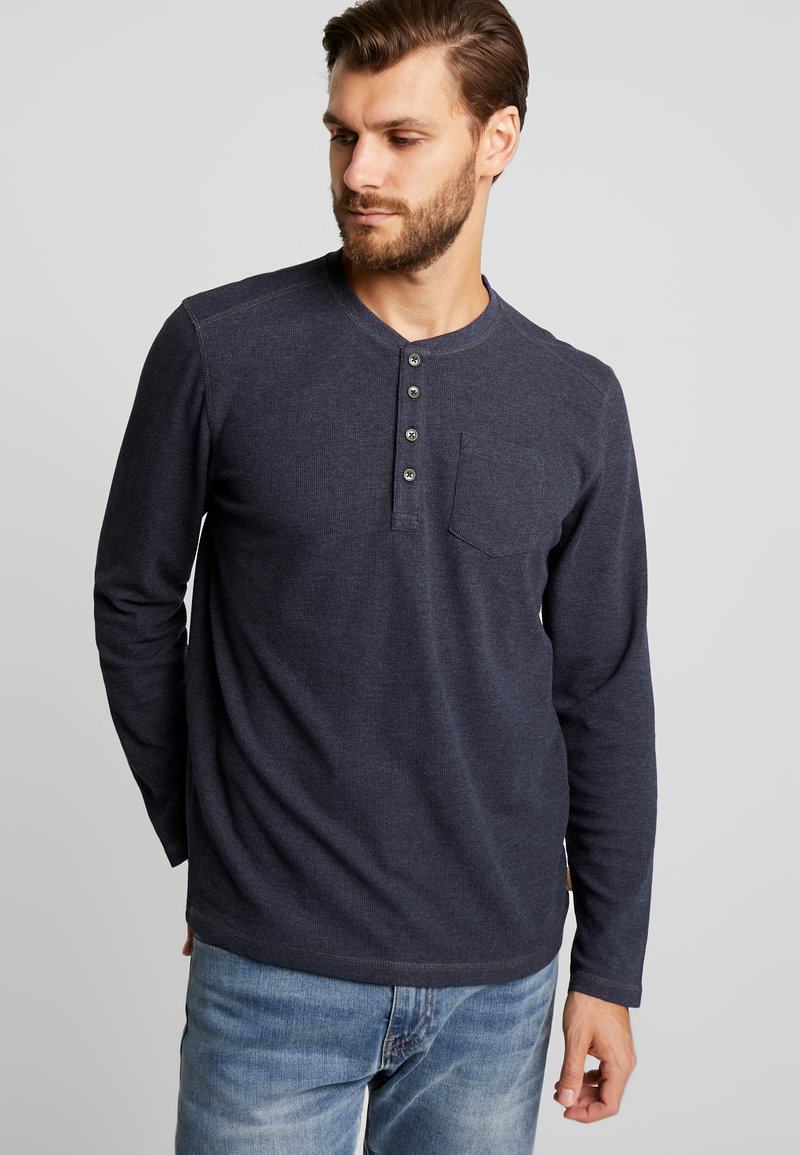 TOM TAILOR - HENLEY WITH CHEST POCKET - Long sleeved top - sky captain blue