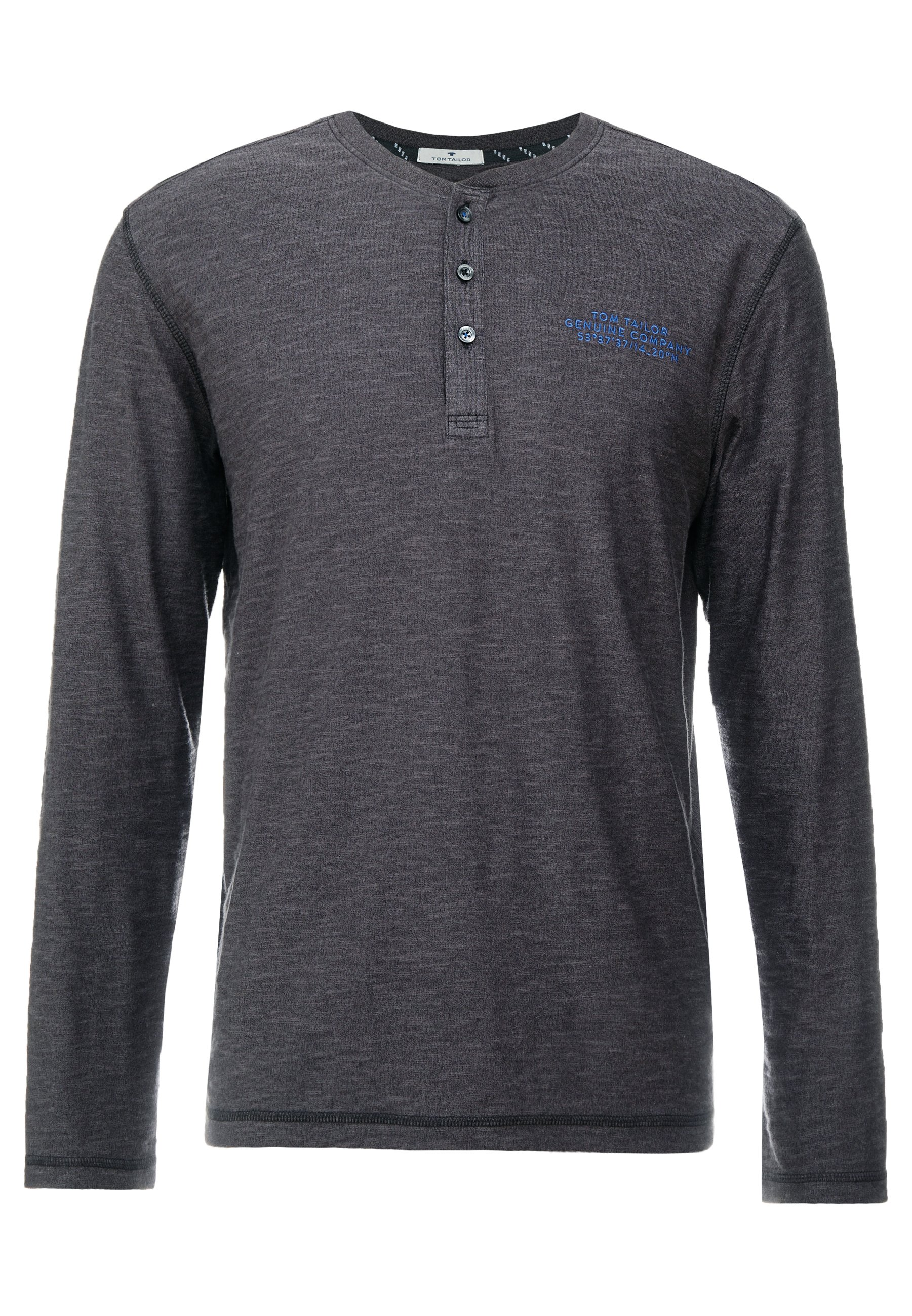 Tom Tailor Cosy Henley With Embroidery - Long Sleeved Top Grindle Slub Black/grey
