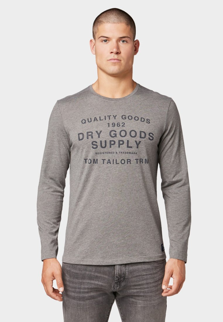 TOM TAILOR - MIT PRINT - Langarmshirt - light grey
