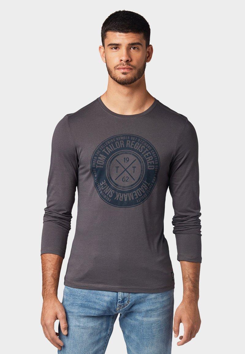 TOM TAILOR - MIT PRINT - Long sleeved top - dark blue