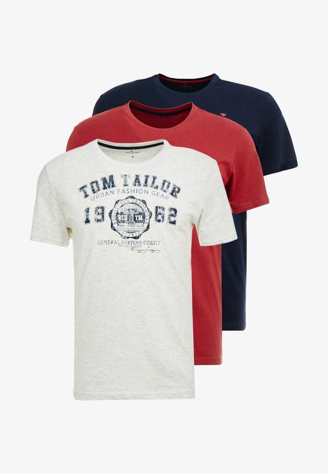 BASIC T-SHIRT 3 PACK - T-Shirt print - blue