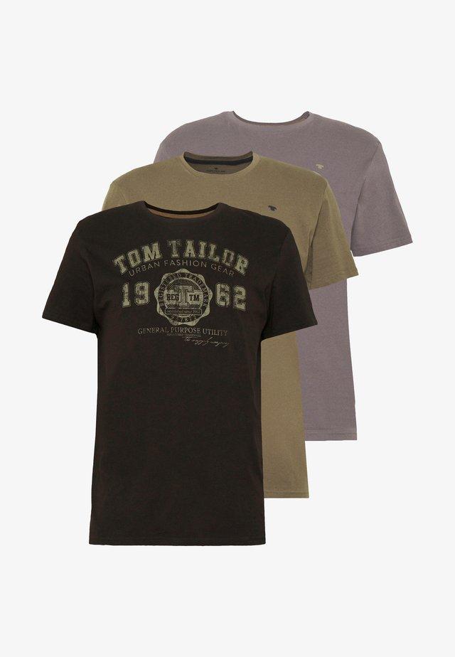 BASIC T-SHIRT 3 PACK - T-shirt med print - black