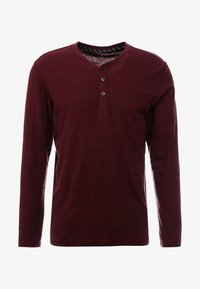 TOM TAILOR - HENLEY WITH EMBRO AT CHEST - Long sleeved top - dark red - 3