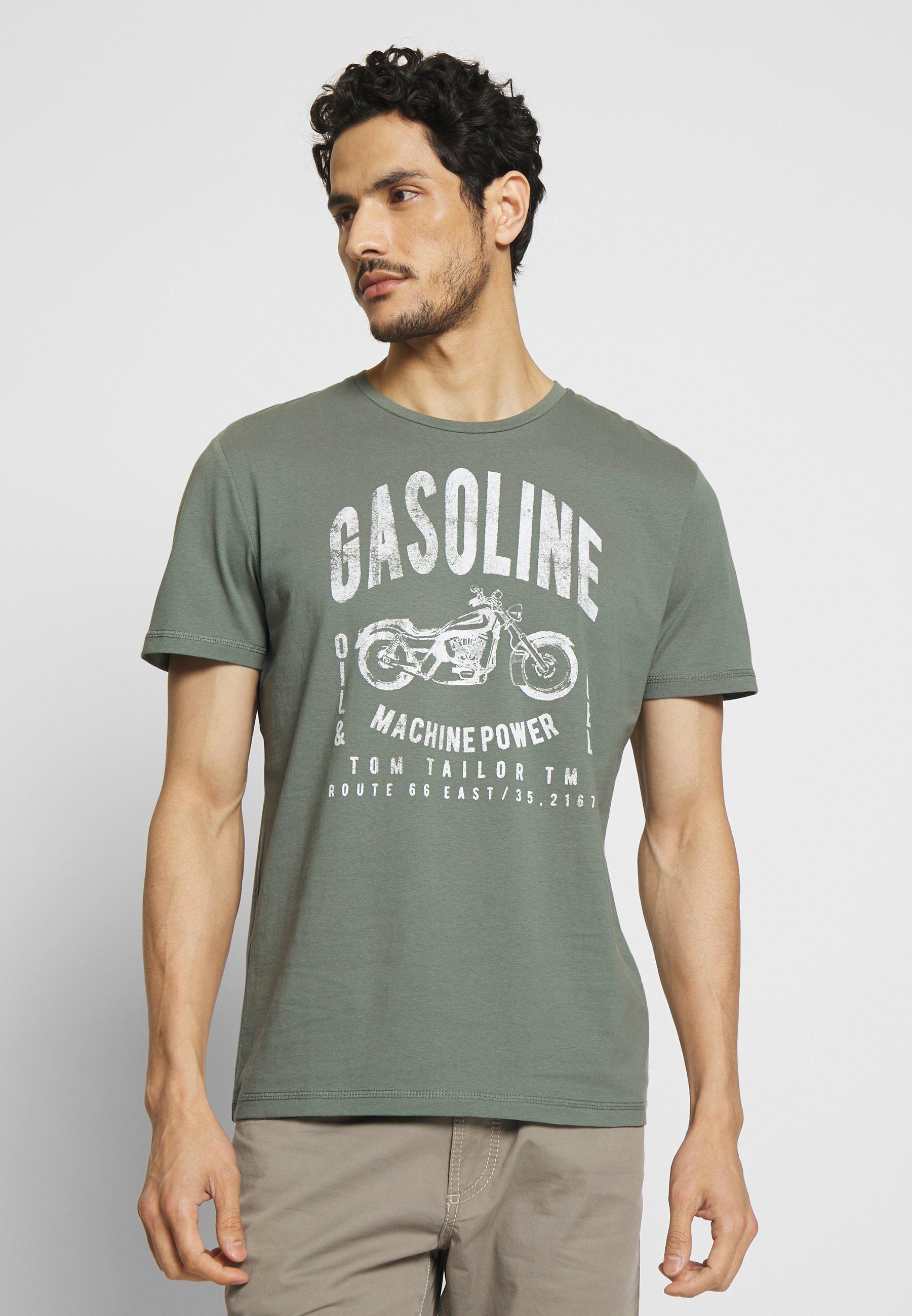 TOM TAILOR GASOLINE - T-shirt z nadrukiem - pale bark green