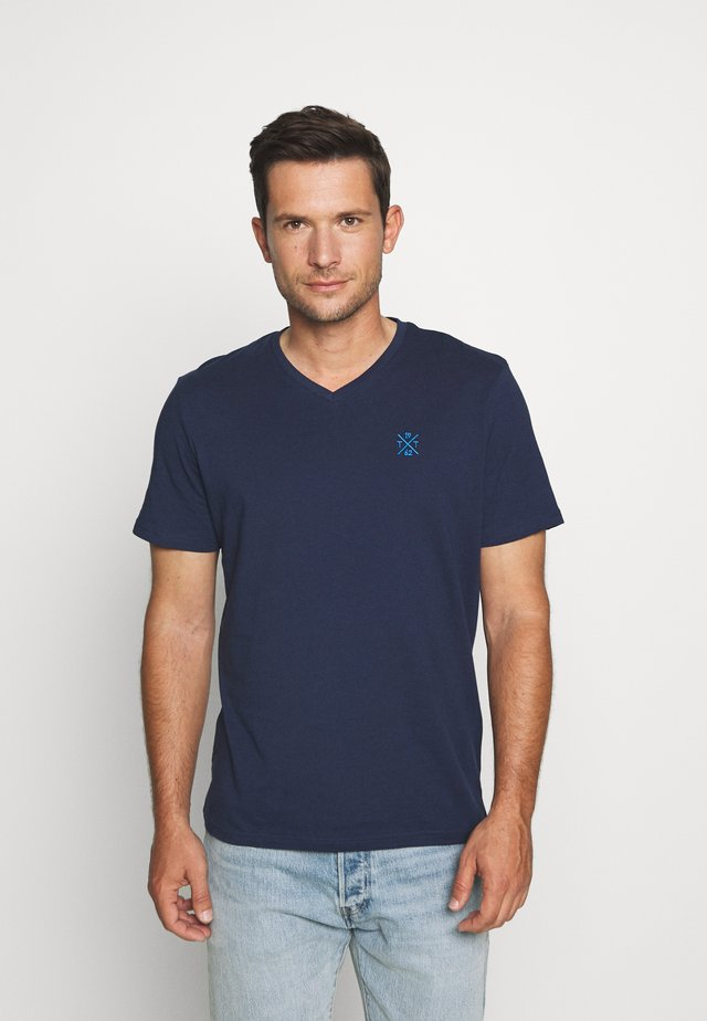 V NECK - T-shirt basic - black iris blue
