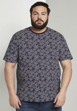 Print T-shirt - navy white agave design