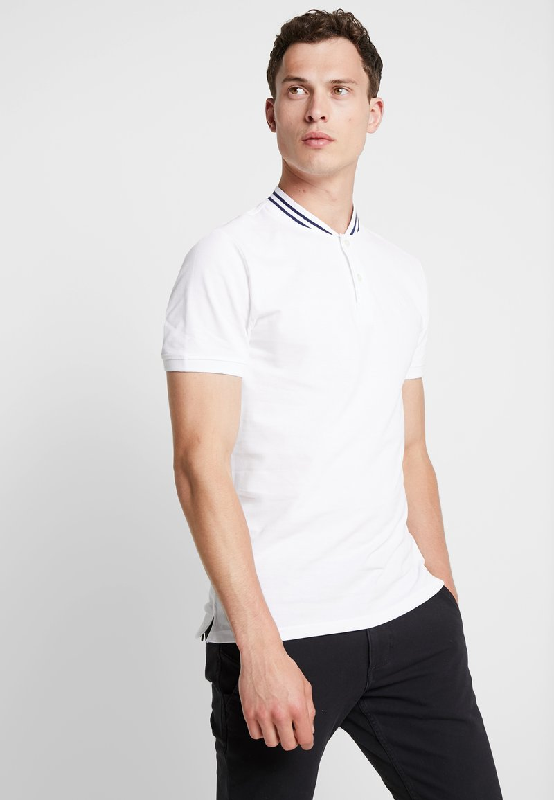 TOM TAILOR - BASEBALL COLLAR - Jednoduché triko - white