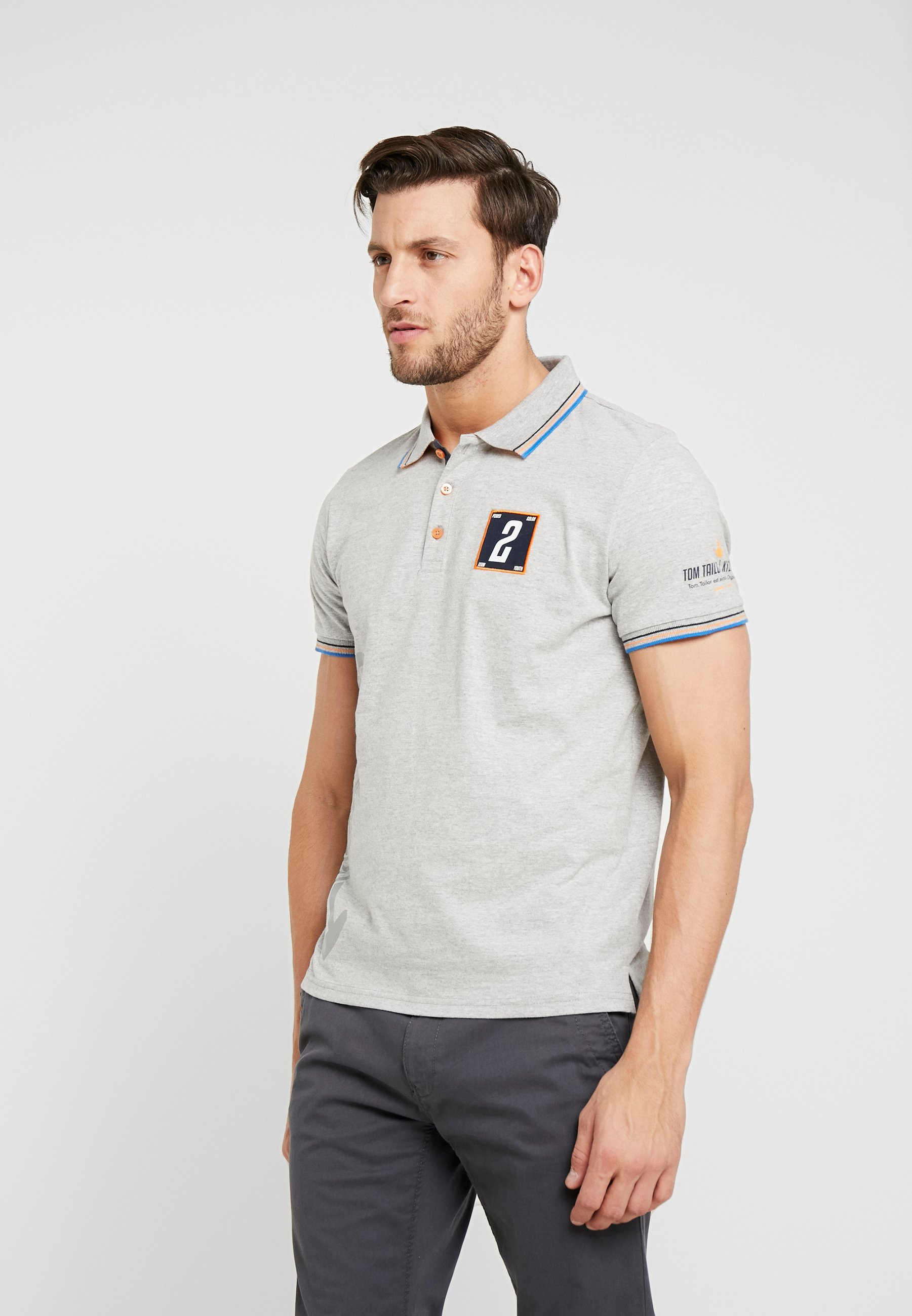 Tom Tailor Melange TeamPolo Middle Grey Decorated m0w8nN