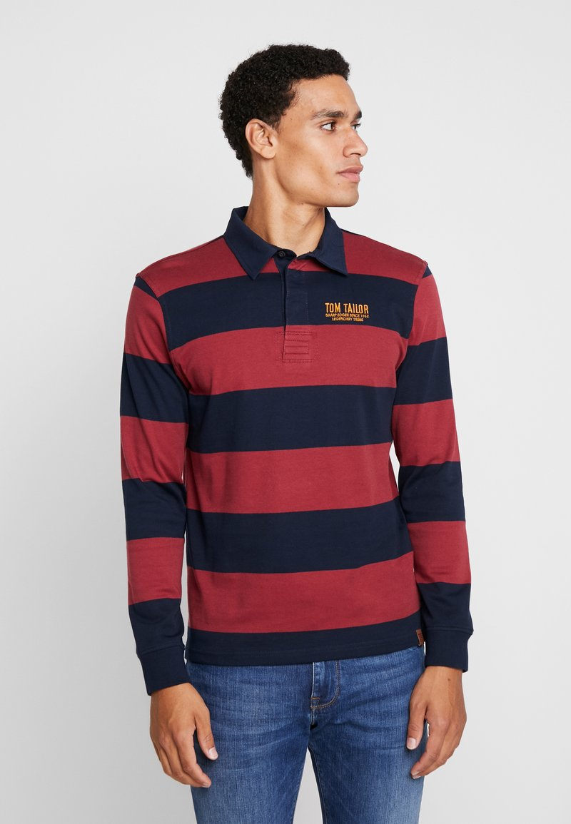 TOM TAILOR - STRIPED LONGSLEEVE - Polo - red