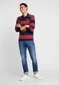 TOM TAILOR - STRIPED LONGSLEEVE - Polo - red - 1