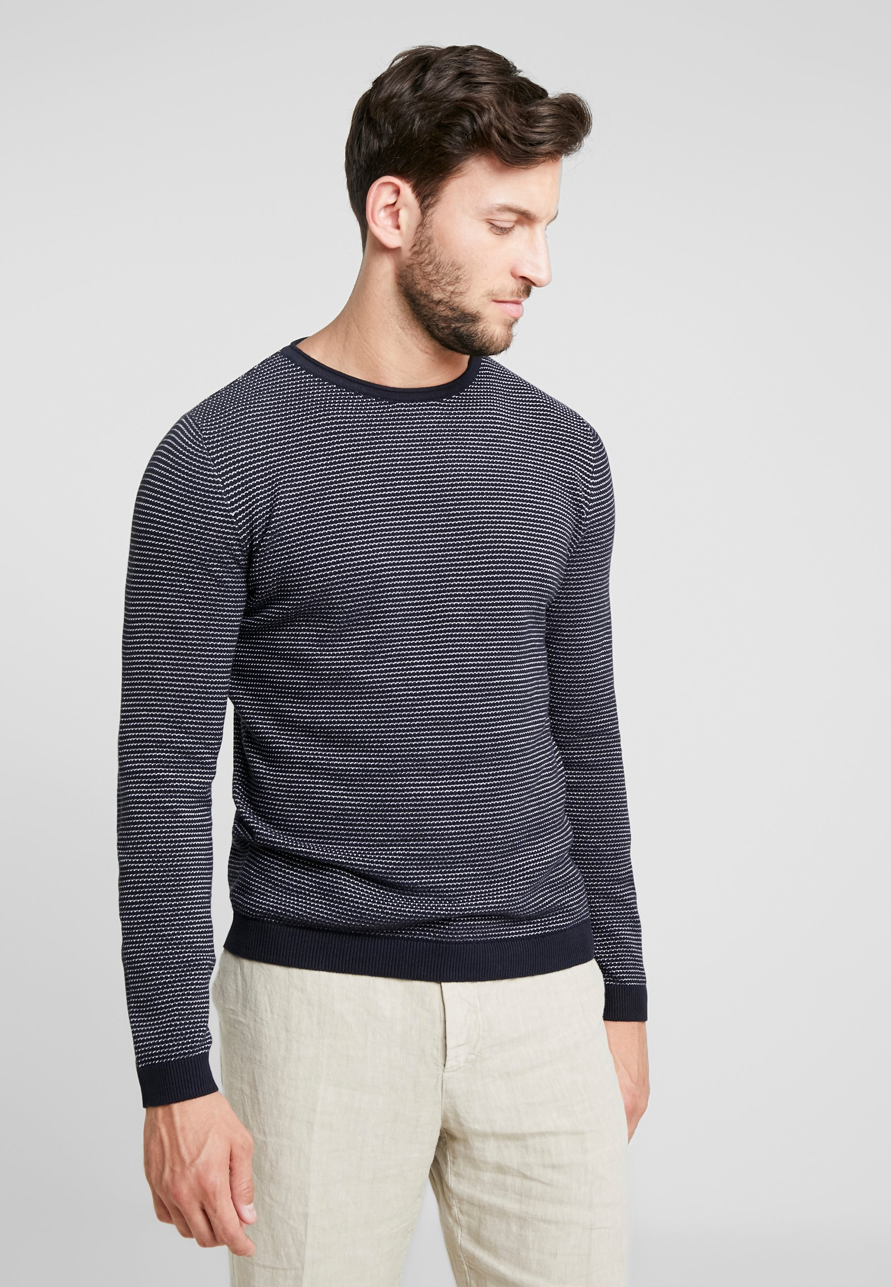 Tom Stripe BasicPullover Fine Tailor Navy White mNn08wv