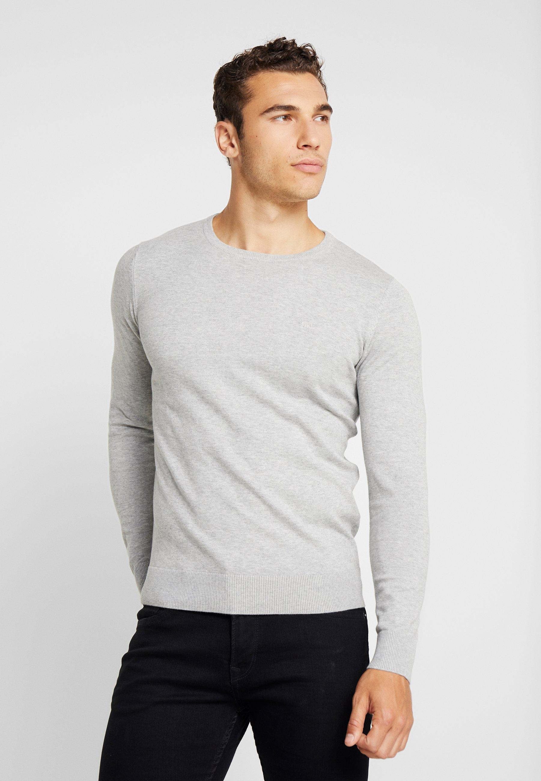Crew Soft Light Tailor Melange NeckPullover Grey Tom Basic PkwO0n
