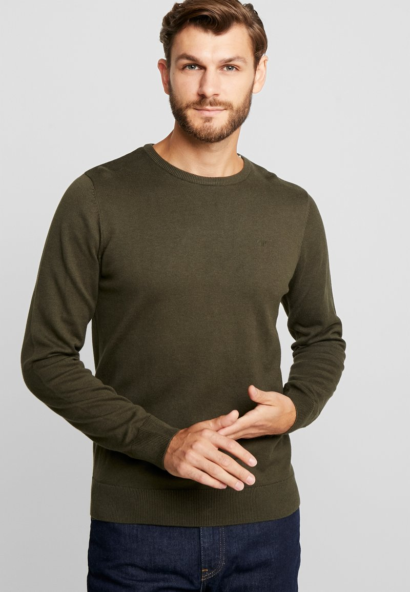 TOM TAILOR - BASIC CREW NECK - Strickpullover - dark olive green