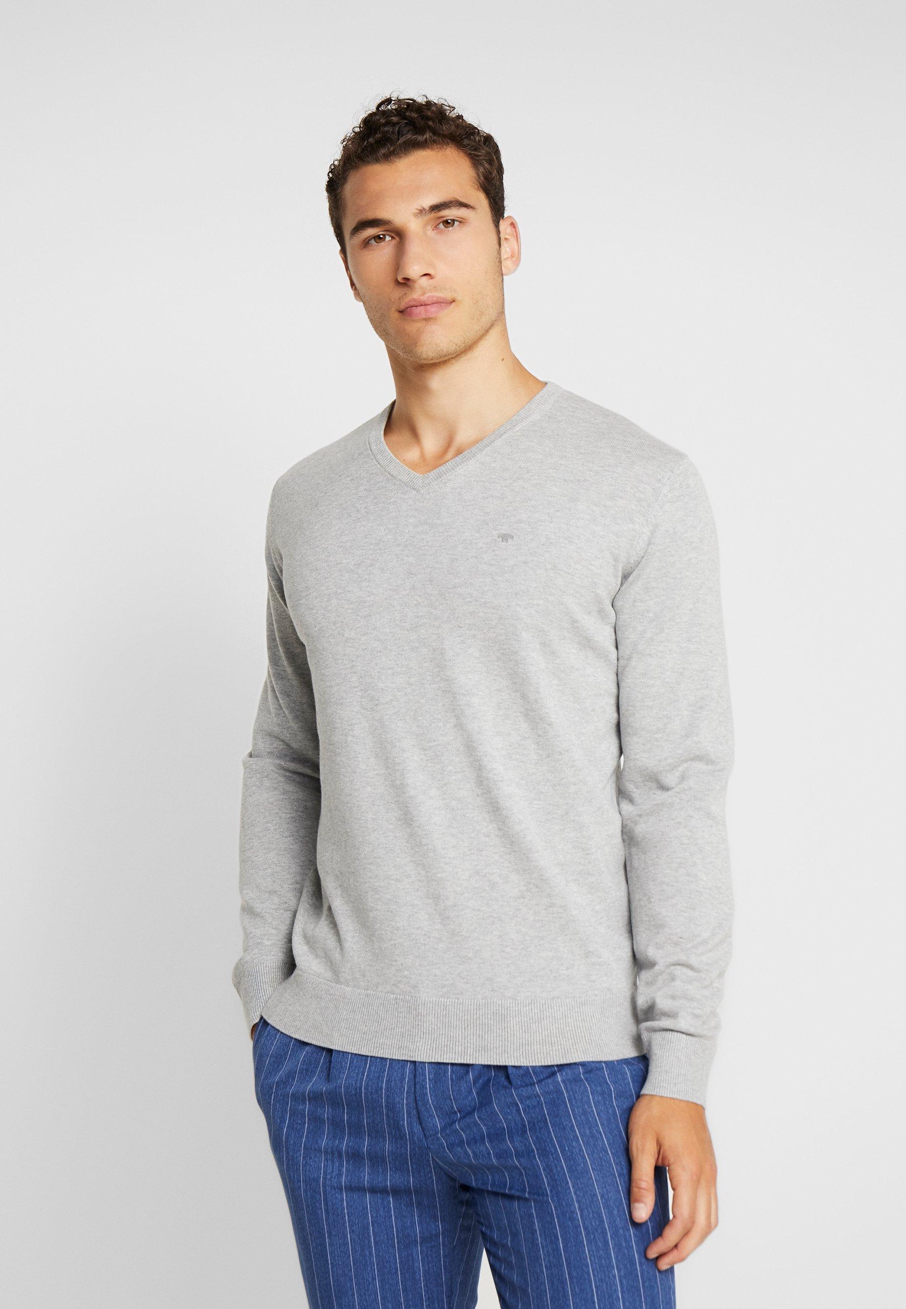 TOM TAILOR BASIC V NECK - Sweter - light soft grey melange