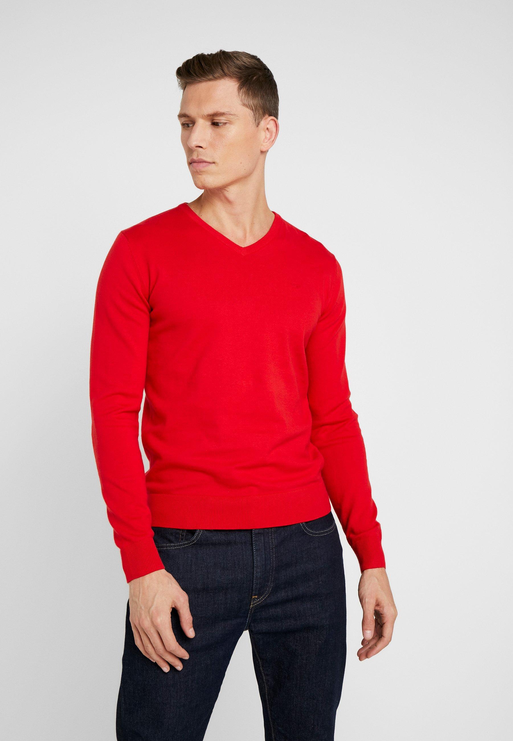 TOM TAILOR BASIC V NECK  - Sweter - red