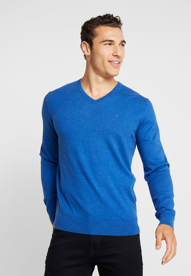 TOM TAILOR - BASIC VNECK - Neule - dark active blue melange