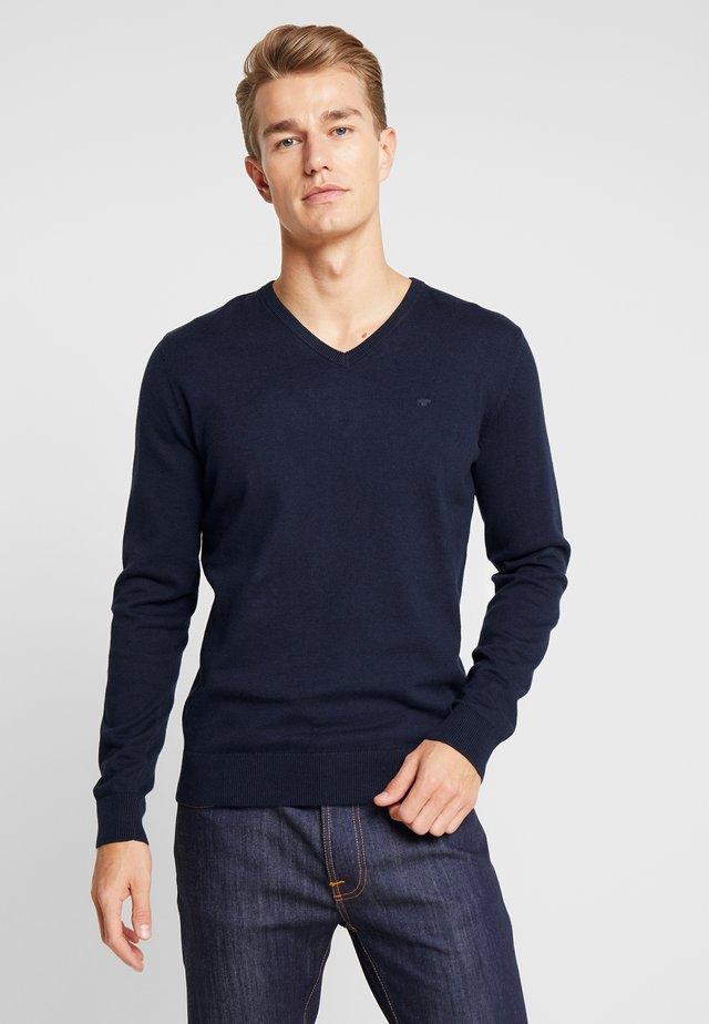 BASIC V NECK  - Stickad tröja - navy melange