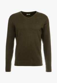 TOM TAILOR - BASIC V NECK  - Strikkegenser - dark olive