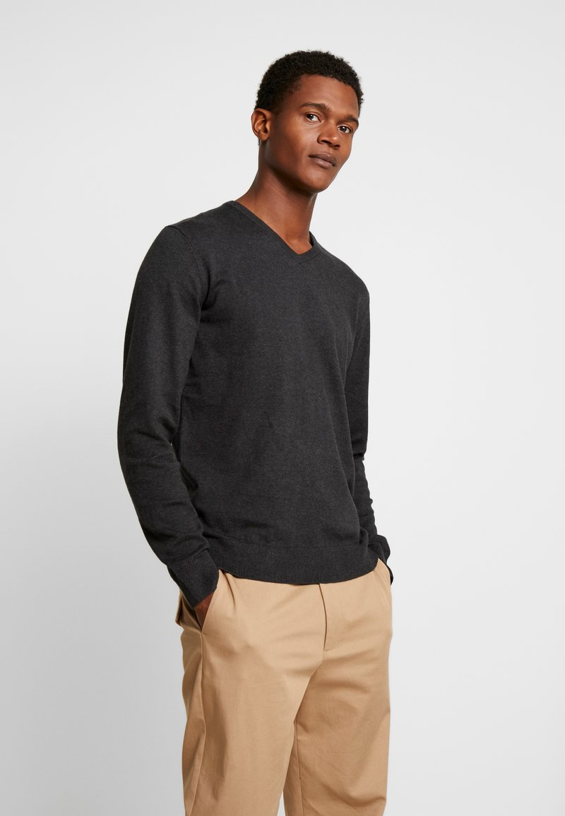 TOM TAILOR - BASIC VNECK - Jersey de punto - black/ grey melange