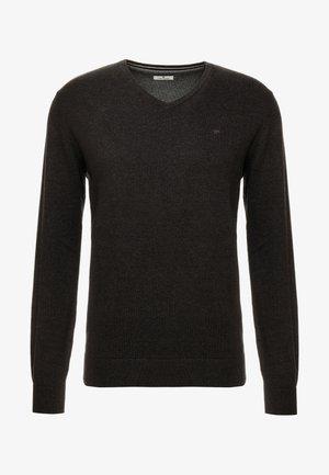 BASIC V NECK  - Stickad tröja - black/ grey melange
