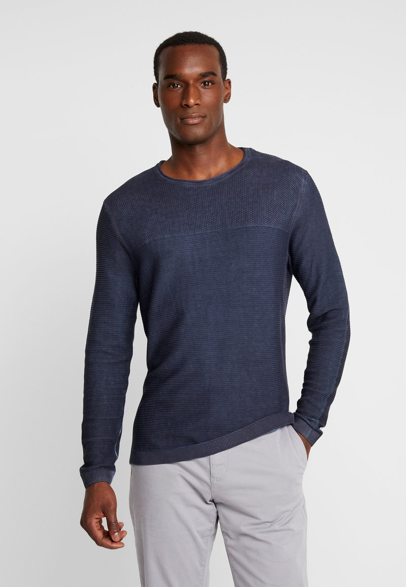 TOM TAILOR - WASHED STRUCTURED  - Svetr - sky captain blue