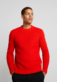 TOM TAILOR - FISHERMAN CREW NECK  - Stickad tröja - orange red - 0