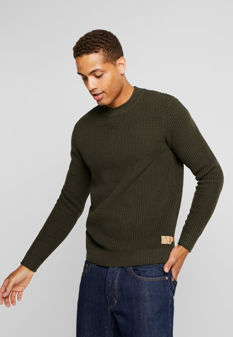 TOM TAILOR - FISHERMAN CREW NECK  - Jumper - mud olive
