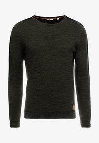 TOM TAILOR - FINE STRUCTURED CREW NECK - Pullover - olive drap navy mouline - 4