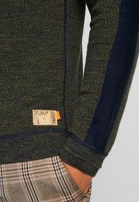 TOM TAILOR - FINE STRUCTURED CREW NECK - Pullover - olive drap navy mouline - 5