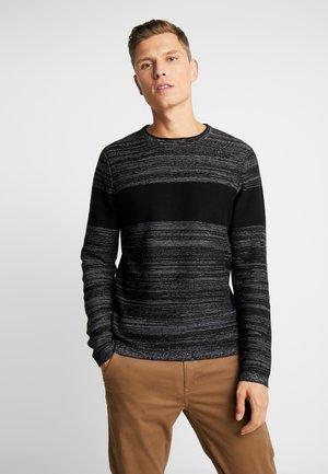 Strikkegenser - black/grey