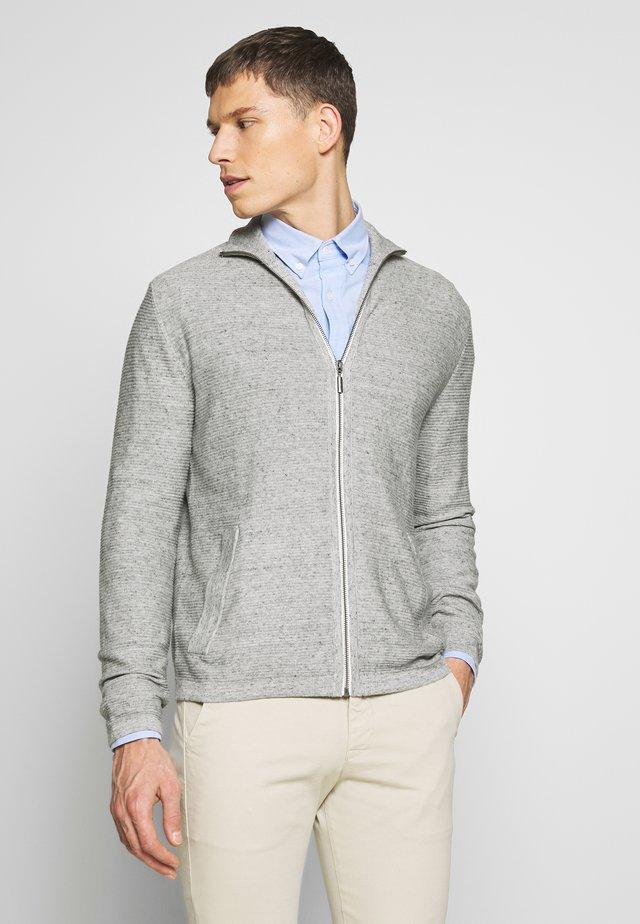 STRUCTURED JACKET - Cardigan - off white grey heather melange
