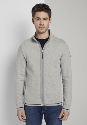 TOM TAILOR STRICK  SWEATSHIRTS SWEATJACKE MIT HOHEM STEHKRAGEN - veste en sweat zippée - middle grey melange