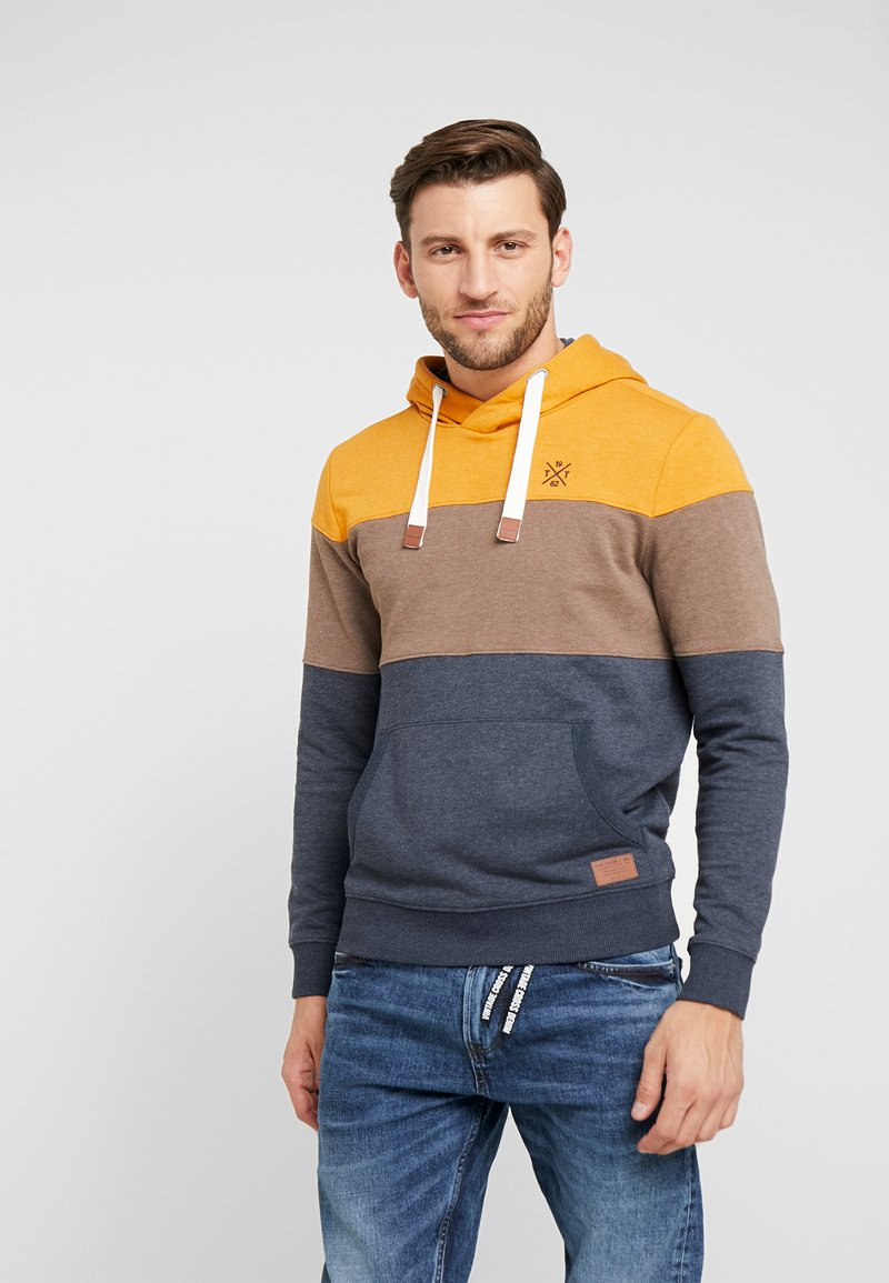 TOM TAILOR - HOODY WITH CUTLINES - Jersey con capucha - yellow