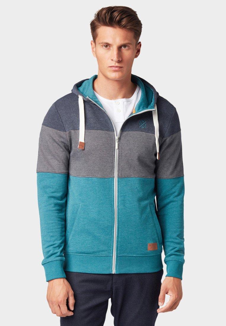 TOM TAILOR - MIT STREIFEN - Zip-up hoodie - dark teal/white/base melange